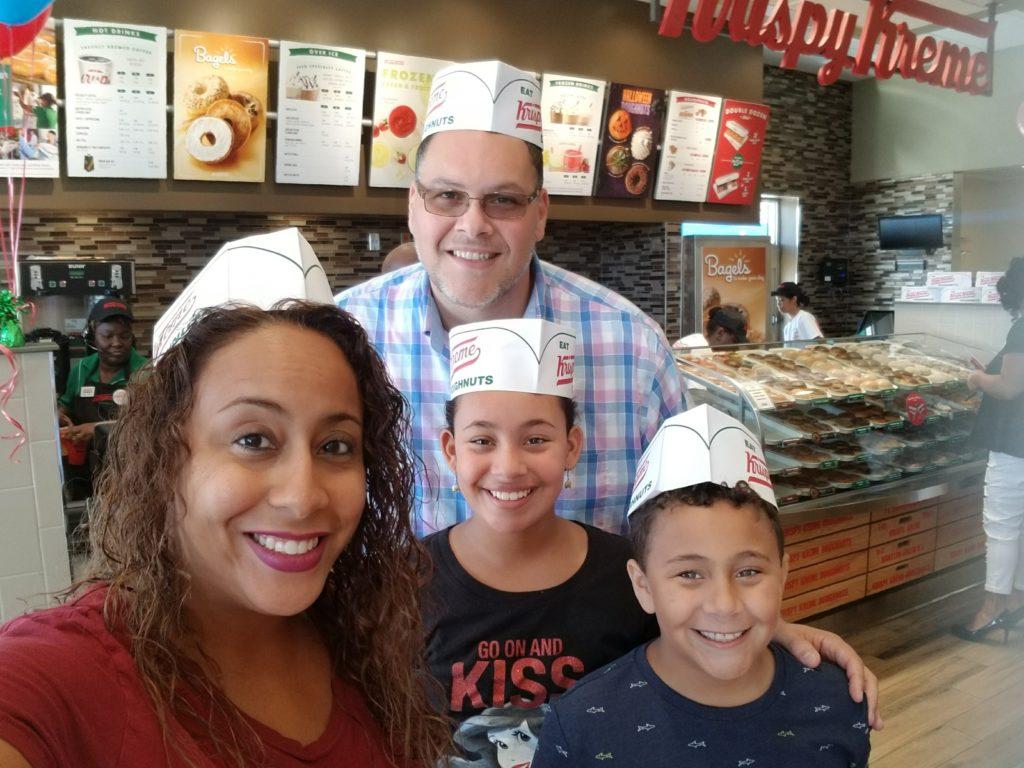 Family pic at Krispy Kreme