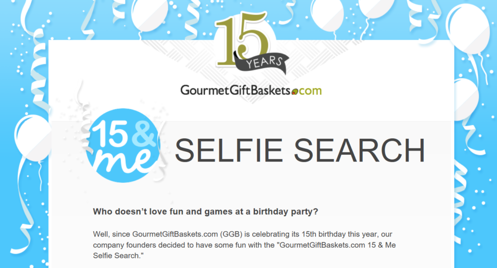 GourmetGiftBaskets.com Selfie Search