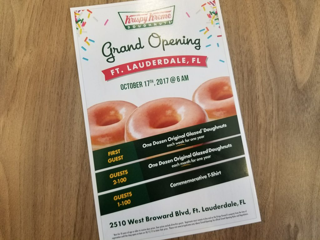Krispy Kreme grand opening 10-17