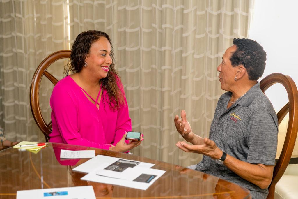 Leanette Fernandez interviewing Smokey Robinson