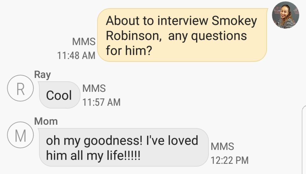 Mom's text about Smokey Robinson