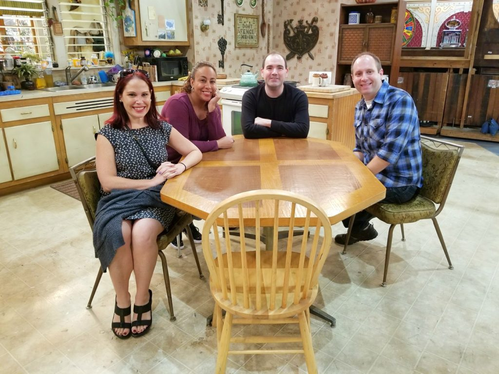 Sitting at the table on the Roseanne Set