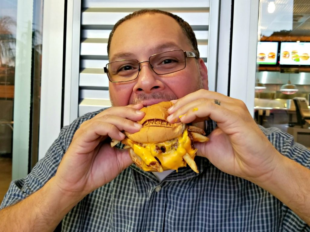 Eating BurgerFi Loaded Chili Cheese Burger