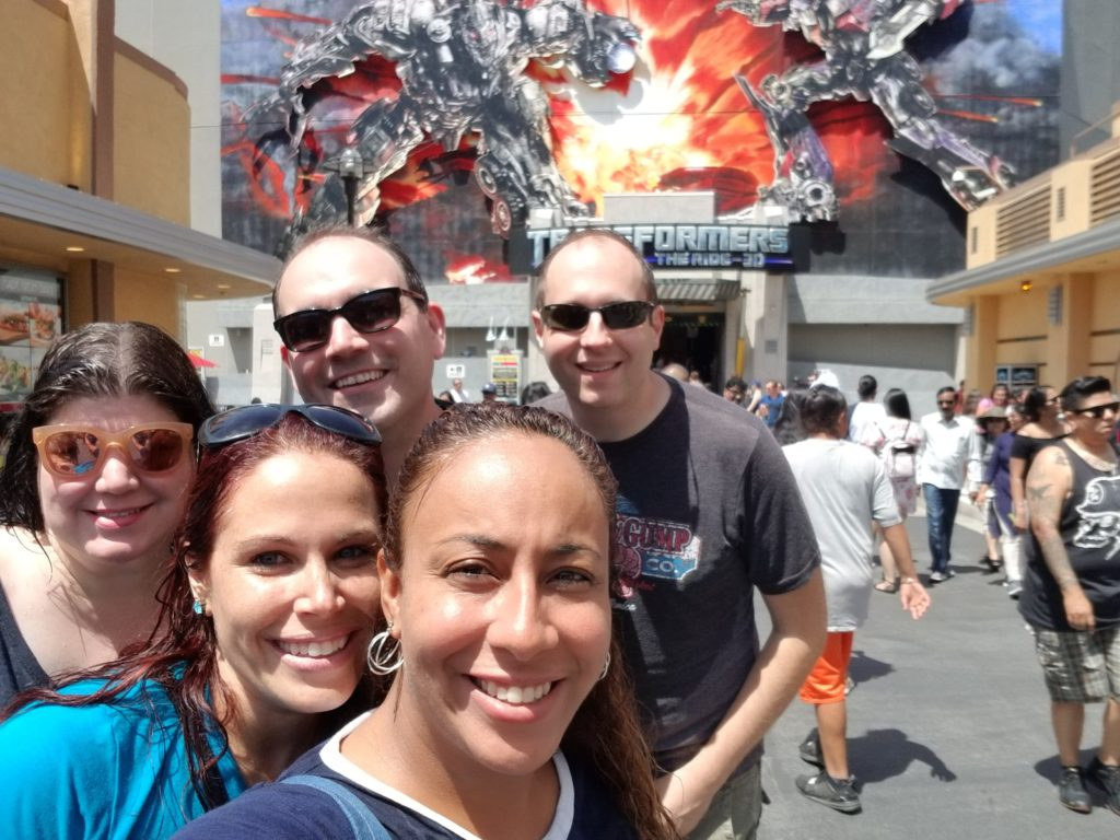 Adults at Transformer ride