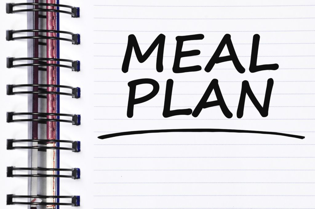 meal plan words on note book