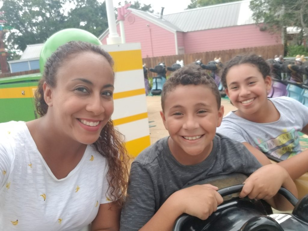 Family at amusement park