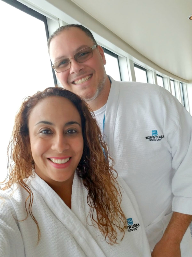 Art and Leanette at the Norwegian Bliss Spa