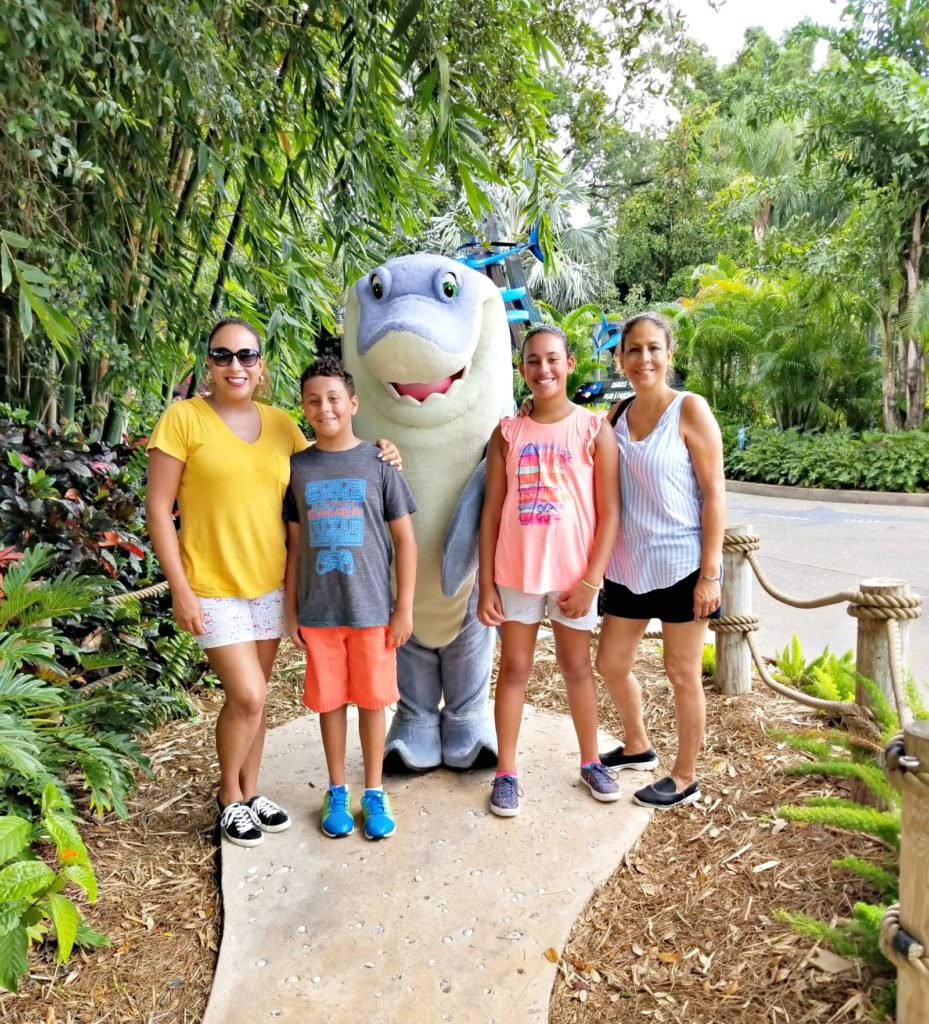 Family photo with shark character