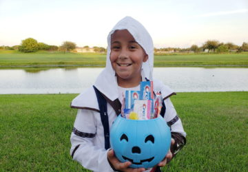 boy with Halloween Candy