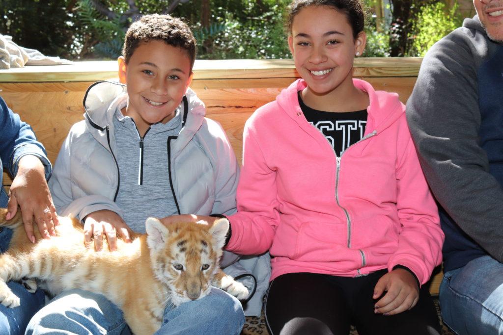 2 kids and a tiger cub
