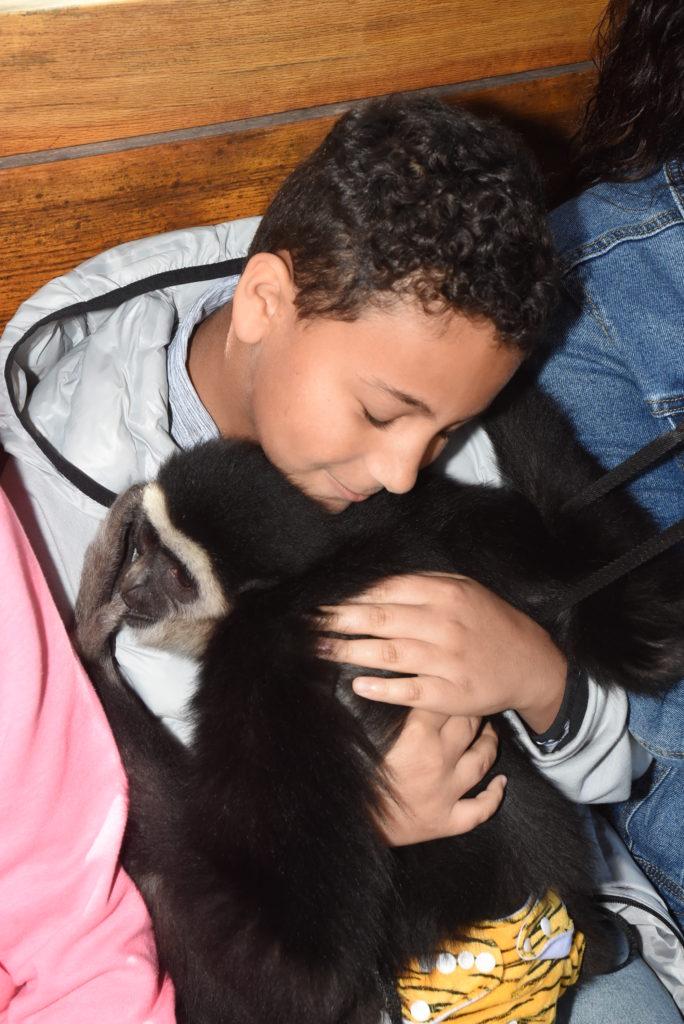 boy holding a monkey