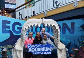 Family at aquarium