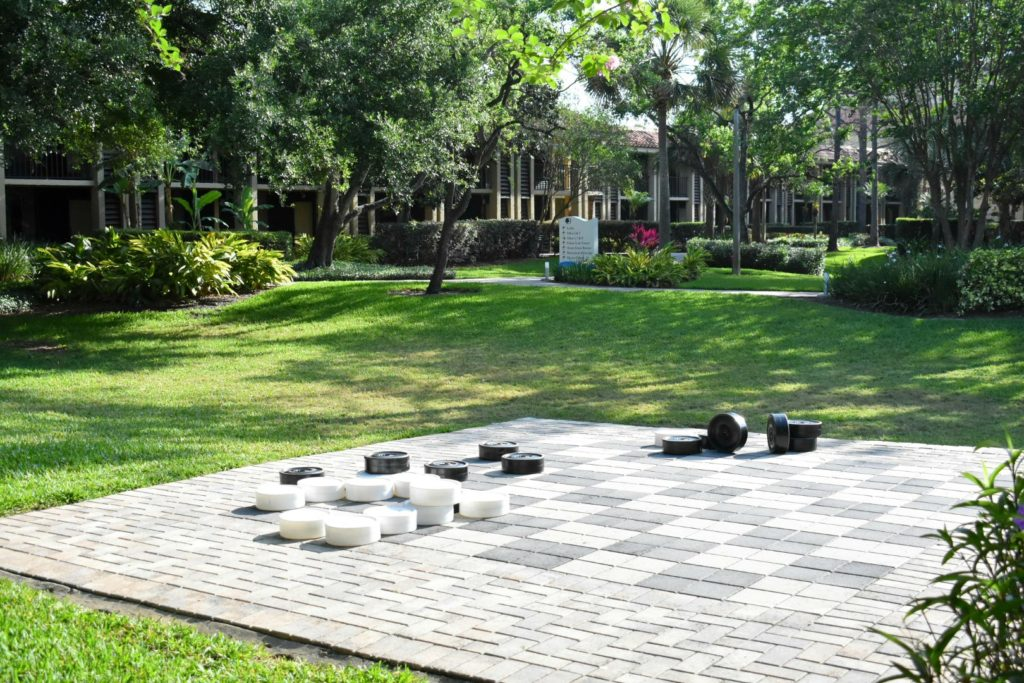 outdoor chess set at a hotel