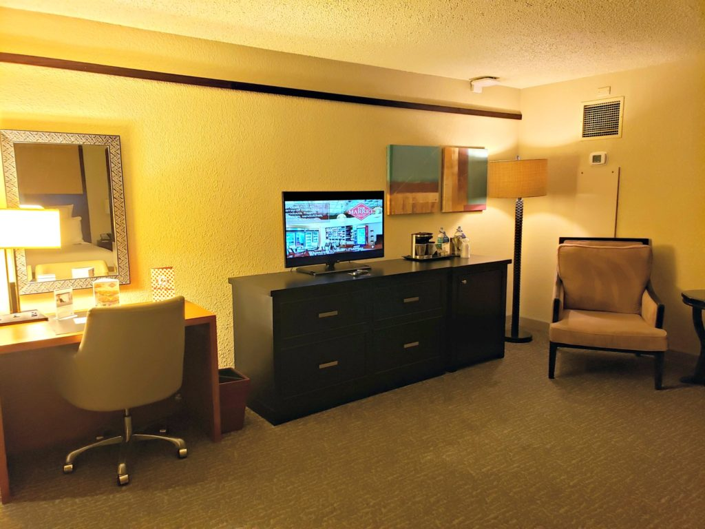 hotel room with a desk