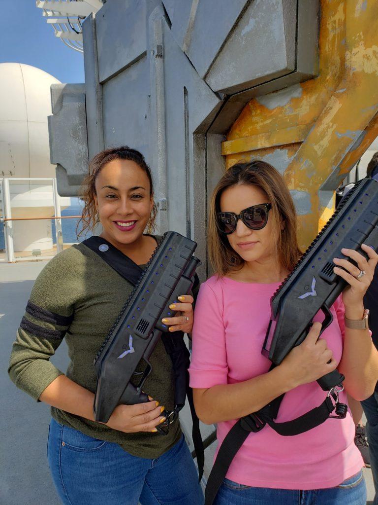 2 ladies playing laser tag