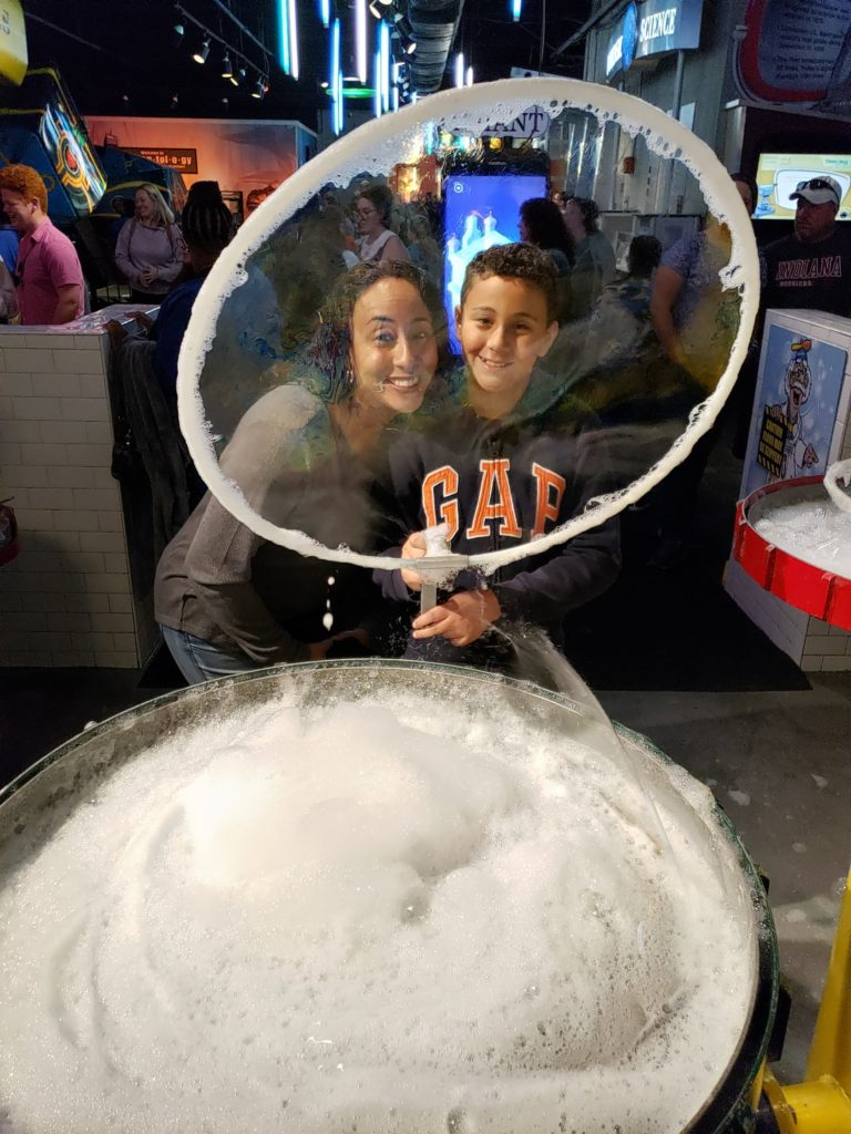 Mom and son with big bubble