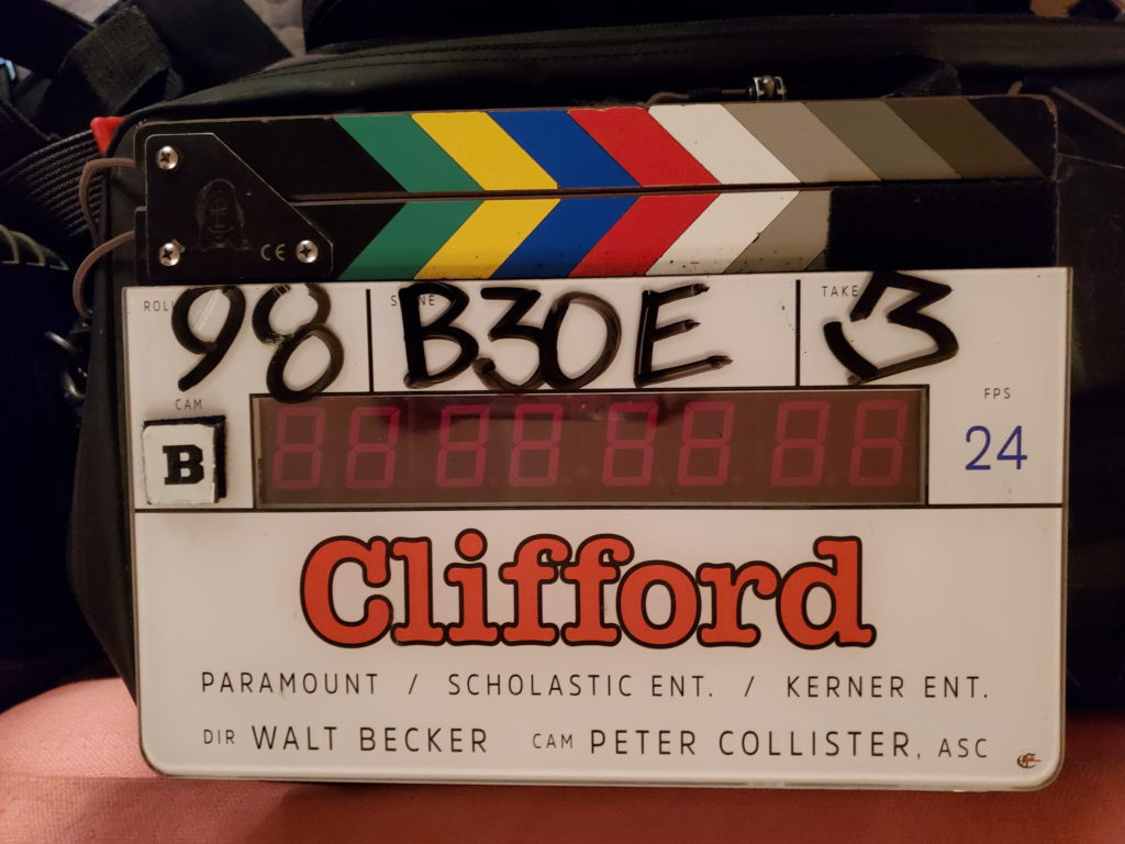 Clifford movie clapboard