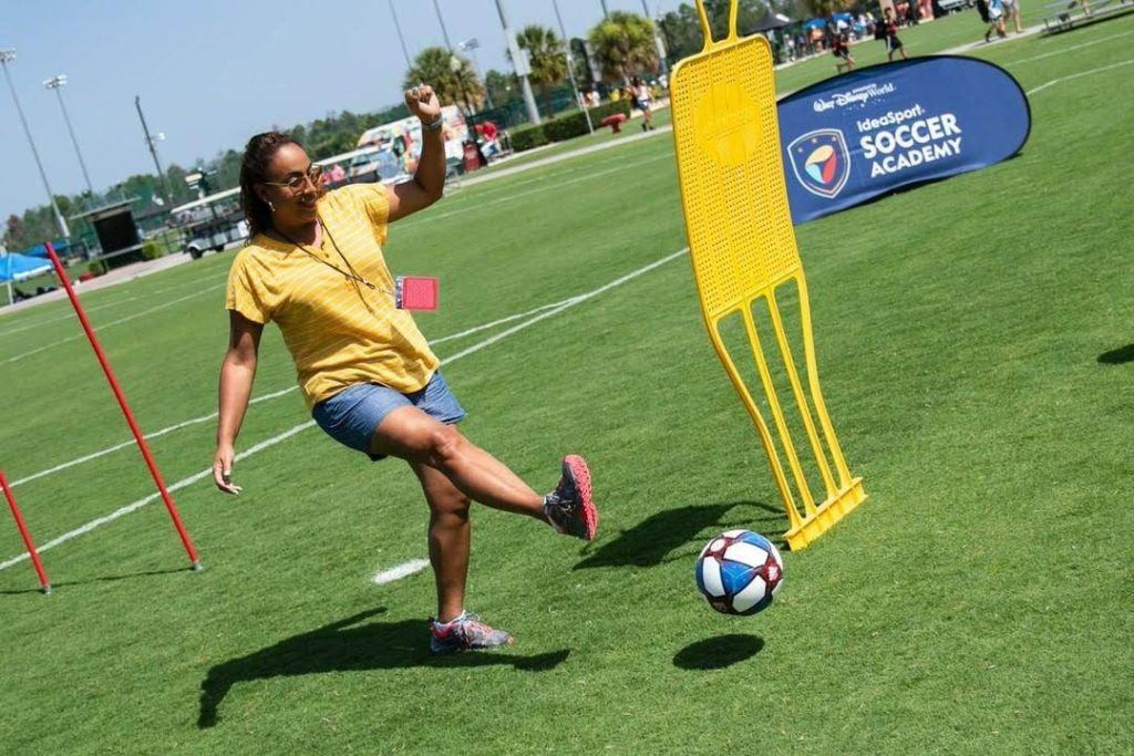 Woman playing soccer ball