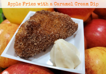 Easy Apple Fries with Caramel Cream Dip on a white plate