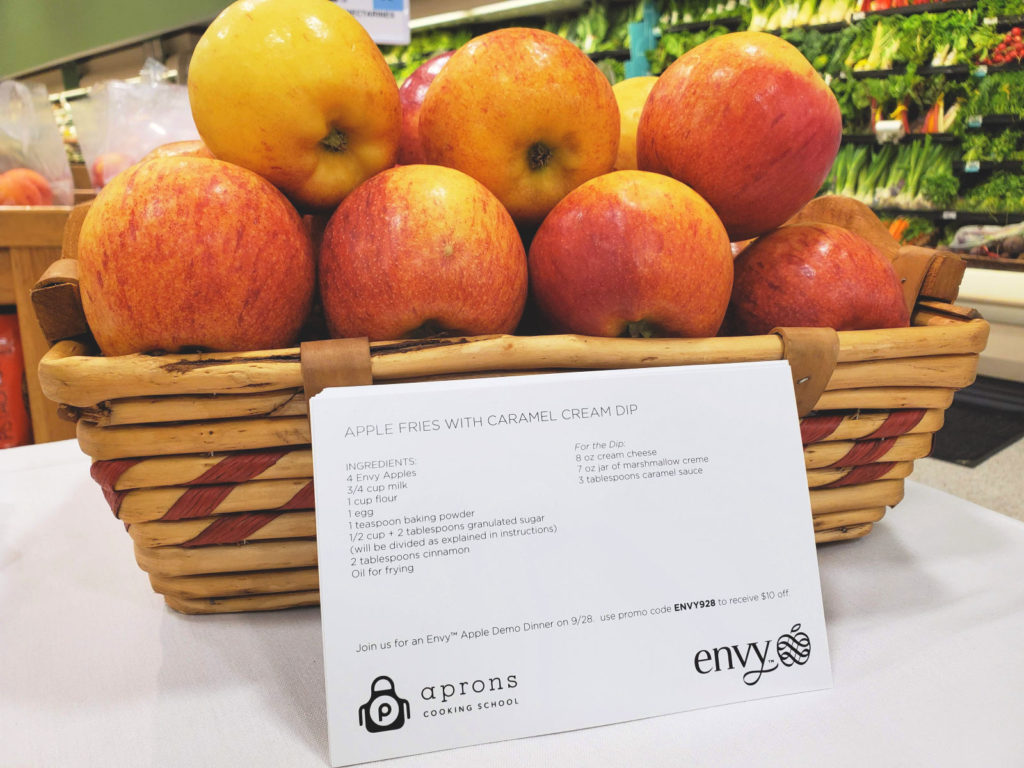 Recipe Card in front of a basket of apples