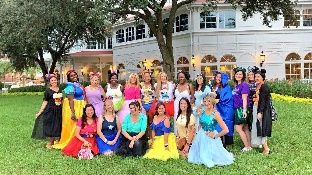 Ladies dressed in costumes