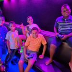 kids inside a game truck