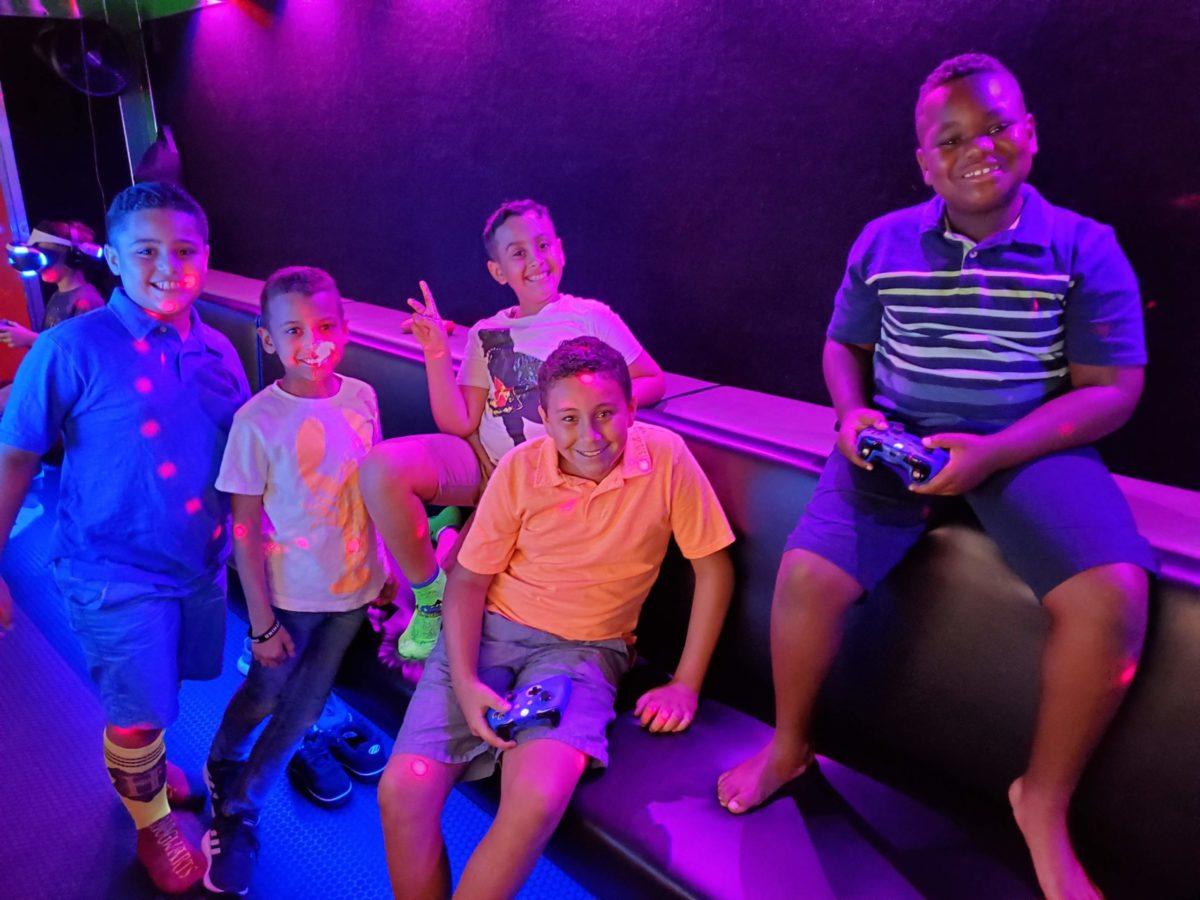 kids inside a game truck