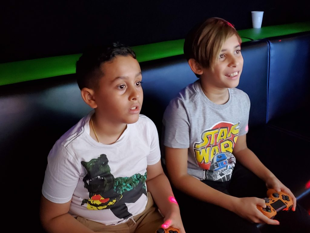 Boys playing video games