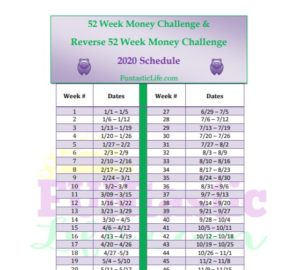 52 Week Money Challenge Schedule
