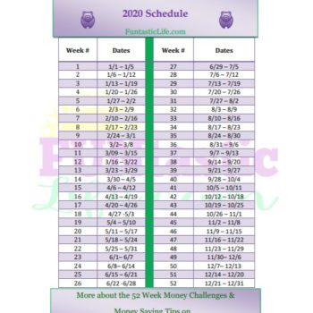 52 Week Money Challenge Schedule for 2020