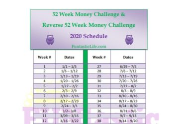 52 Week Money Challenge Schedule