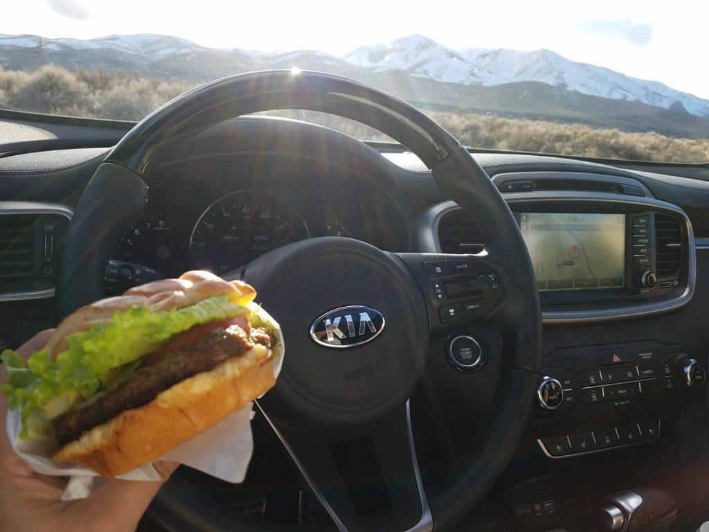 Hamburger in the car