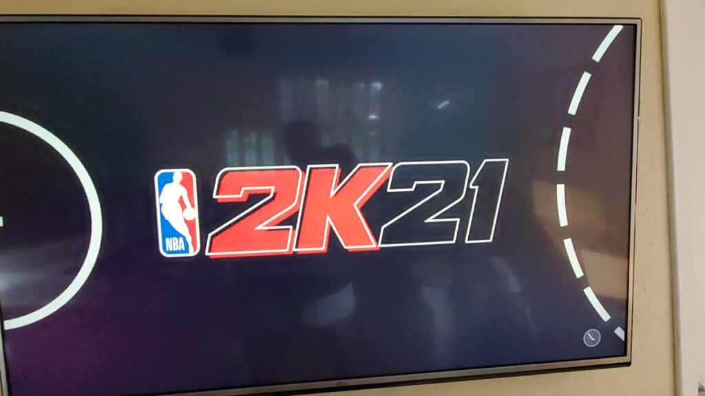 NBA 2K21 on the TV